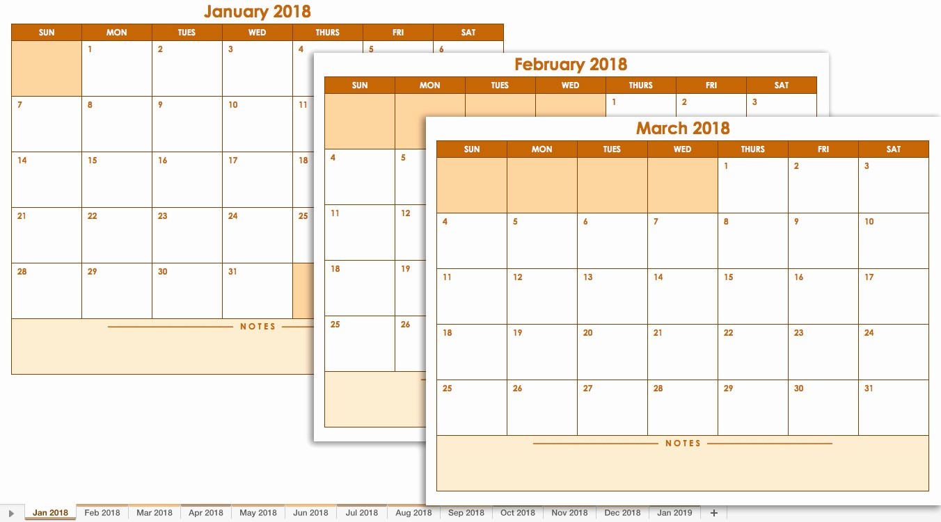 Three Month Calendar Template Excel Lovely 2019 Monthly Calendar Excel