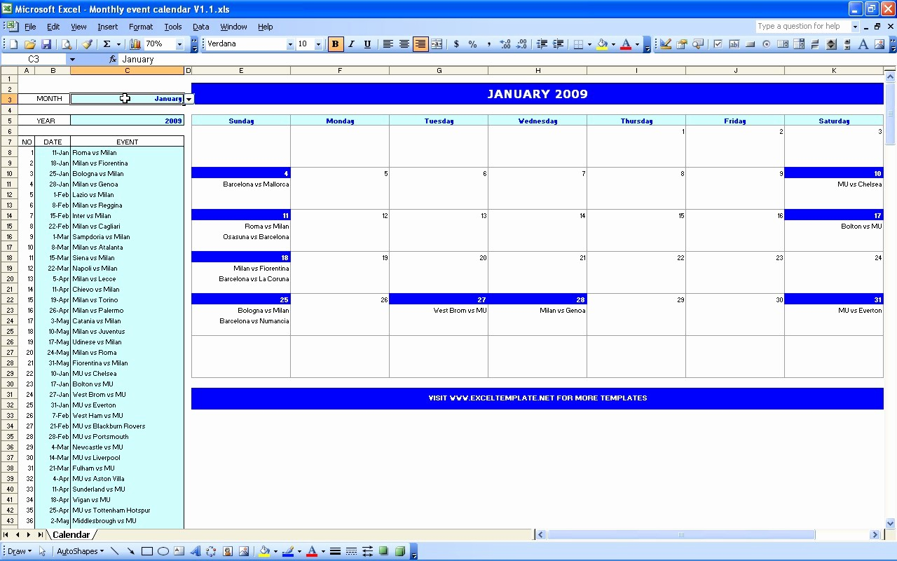 Three Month Calendar Template Excel Lovely Excel Monthly Calendar Template