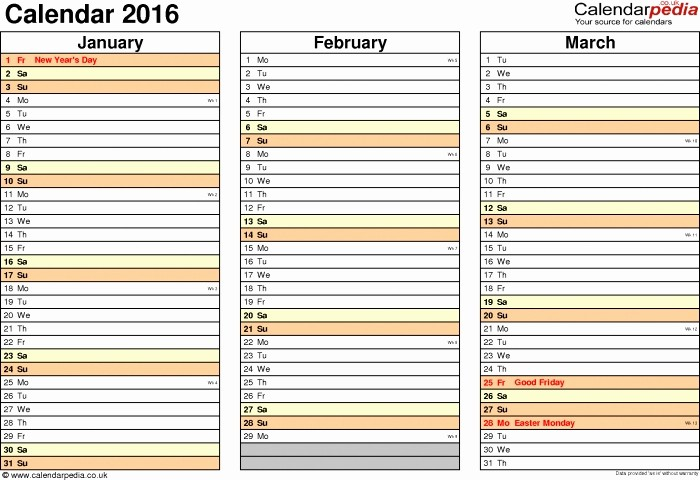 Three Month Calendar Template Excel Luxury 3 Month Calendar Excel 2016