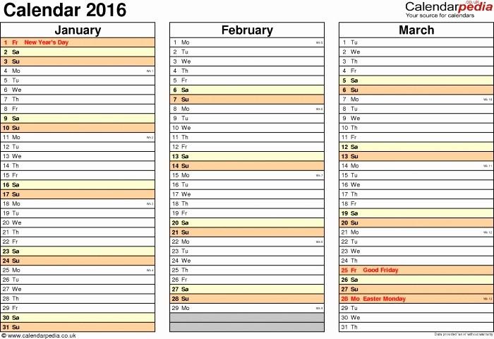 Three Month Calendar Template Excel Luxury 3 Month Calendar Excel 2016