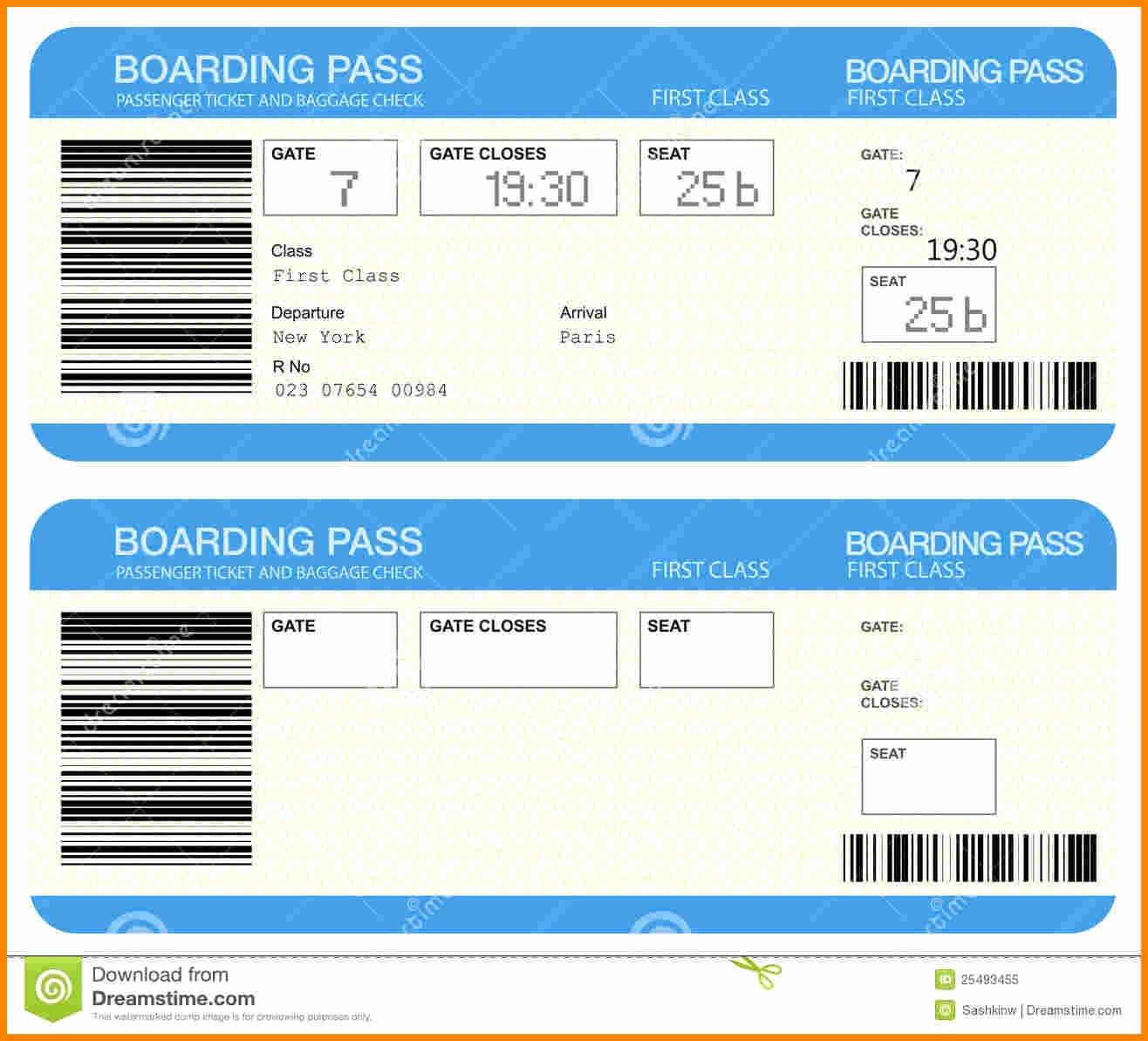 Ticket Template for Microsoft Word Elegant Airline Ticket Template Word Example Mughals