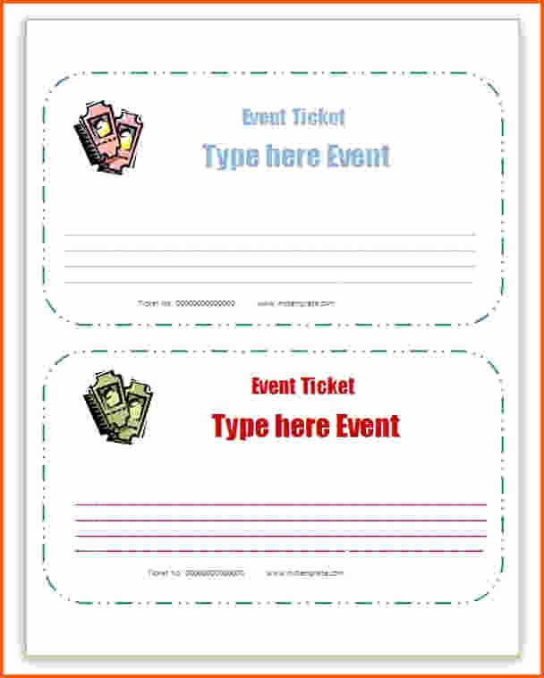 Ticket Template for Microsoft Word Inspirational Concert Ticket Template Word Sarahepps