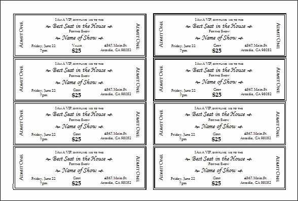 Ticket Template for Microsoft Word Inspirational Microsoft Word Ticket Template