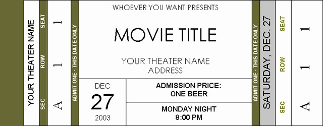 Ticket Template for Microsoft Word Unique Movie Ticket Template Beepmunk
