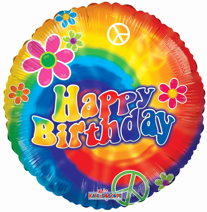 "Tie Dye Happy Birthday Images Awesome 18"" Tie Dye Rainbow Groovy 60 70 S Hippie Dance Birthday"