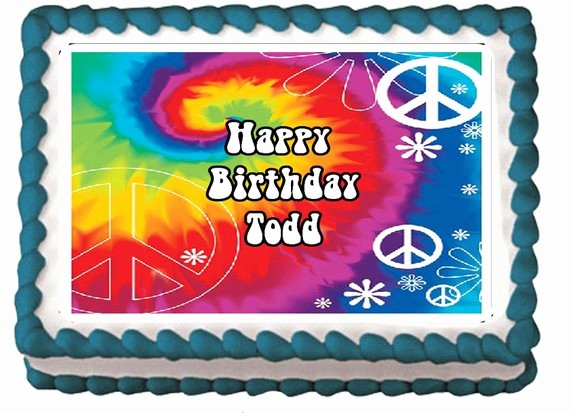 Tie Dye Happy Birthday Images Awesome Tie Dye Peace Sign Flower Edible Teen Sweet 16 Birthday Party