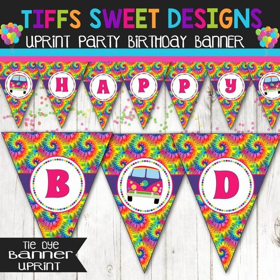 Tie Dye Happy Birthday Images Fresh Tie Dye 60 S Hippie Party Happy Birthday Banner