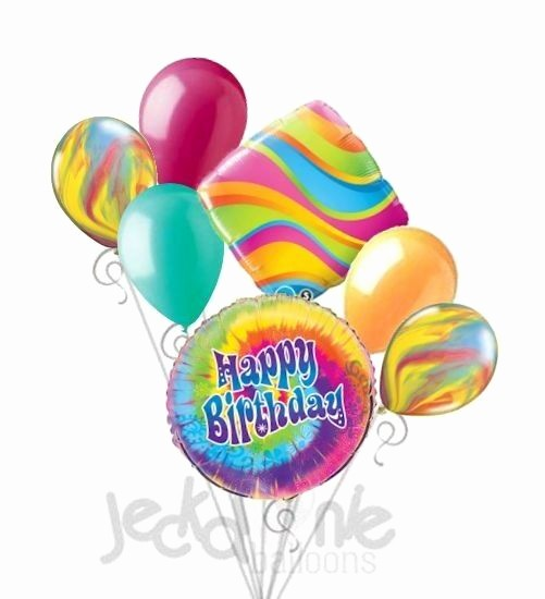 Tie Dye Happy Birthday Images Inspirational 7 Pc Tie Dye Happy Birthday Balloon Bouquet Hippie 60 S 70