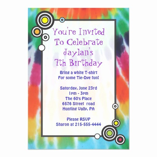 Tie Dye Happy Birthday Images Lovely Groovy Tie Dye Happy Birthday Party Invitation