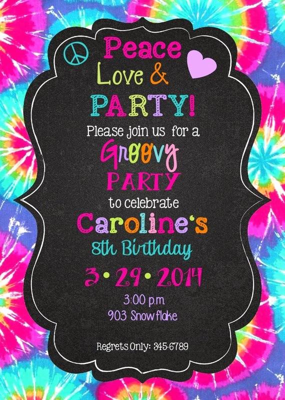 Tie Dye Party Invitations Printable Beautiful Peace Love Party Birthday Invitations Printable or Digital