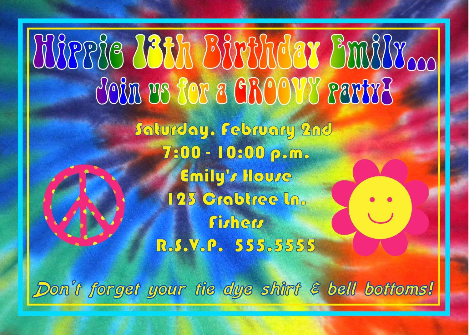 Tie Dye Party Invitations Printable Best Of Digital Tie Dye Hippie Birthday Party Invitation 2 Thank