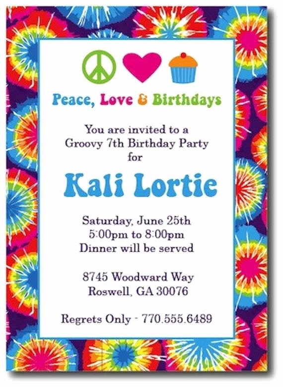 Tie Dye Party Invitations Printable Best Of Items Similar to Tie Dye Invitations Hippie Chick On Etsy