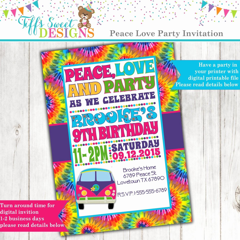 Tie Dye Party Invitations Printable Best Of Tie Dye 60 S Hippie Party Invitation Peace Love