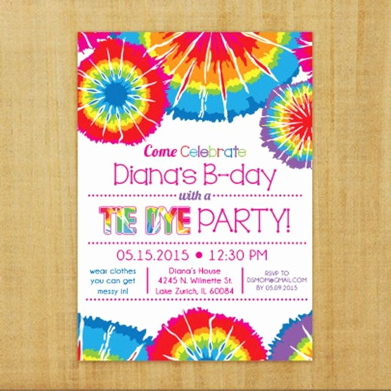 Tie Dye Party Invitations Printable Best Of Tie Dye Invitation Printable