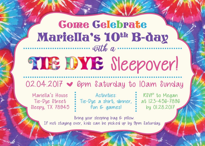 Tie Dye Party Invitations Printable Best Of Tie Dye Party Invitation Tie Dye Sleepover Digital File
