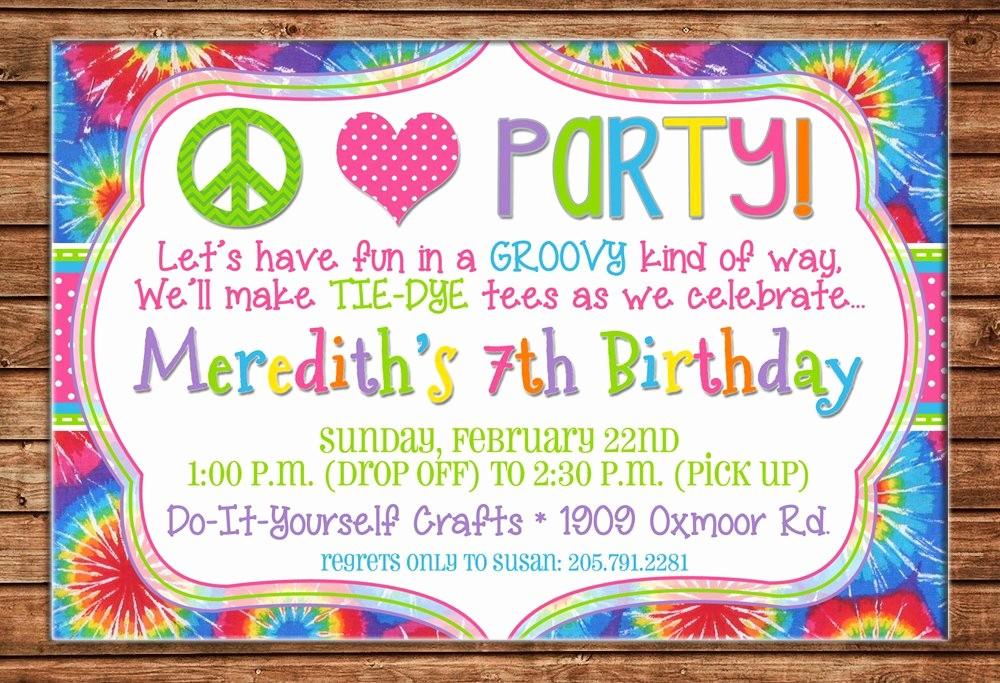 Tie Dye Party Invitations Printable Elegant Boy or Girl Invitation Peace Love Tiedye Tie Dye Birthday