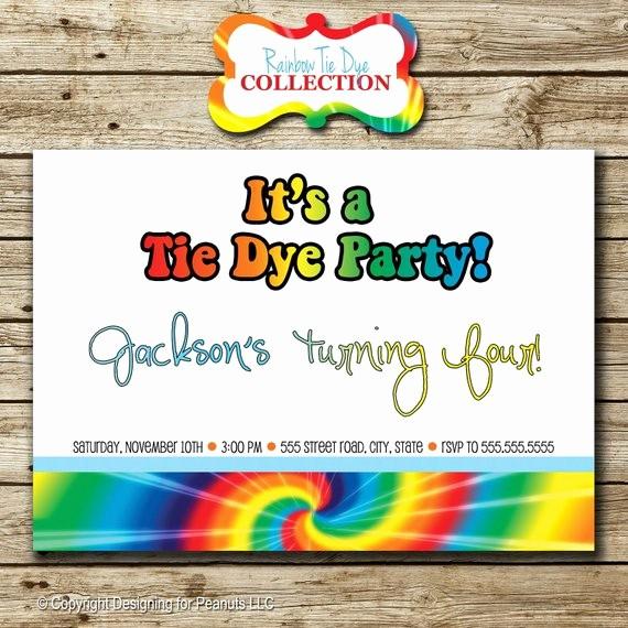 Tie Dye Party Invitations Printable Elegant Rainbow Tie Dye Birthday Party Invitation by