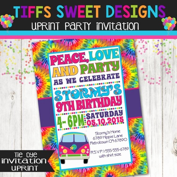 Tie Dye Party Invitations Printable Elegant Tie Dye 60 S Hippie Party Invitation Peace by