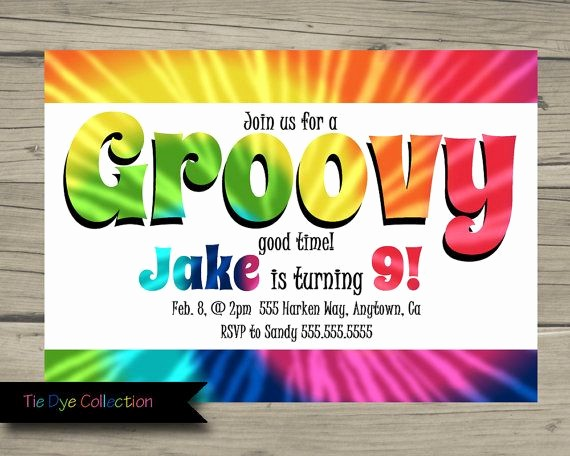 Tie Dye Party Invitations Printable Elegant Tie Dye Birthday Party Invitation Printable Rainbow