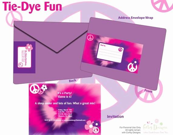 Tie Dye Party Invitations Printable Elegant Tie Dye Custom Printable Invitation Diy by Corleydesigns