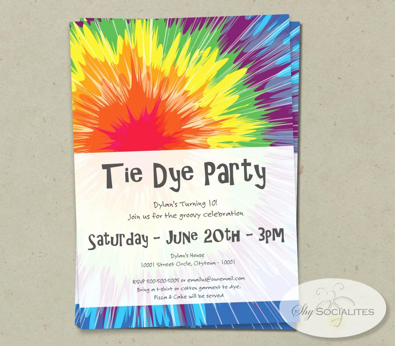 Tie Dye Party Invitations Printable Elegant Tie Dye Invitation Instant Download Editable Text Pdf that