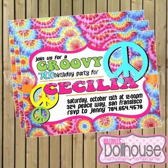 Tie Dye Party Invitations Printable Elegant Tie Dye Invitation Printable Tie Dye and Peace by