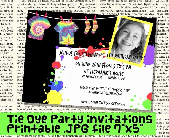 Tie Dye Party Invitations Printable Fresh 37 Best Images About Tie Dye Party On Pinterest