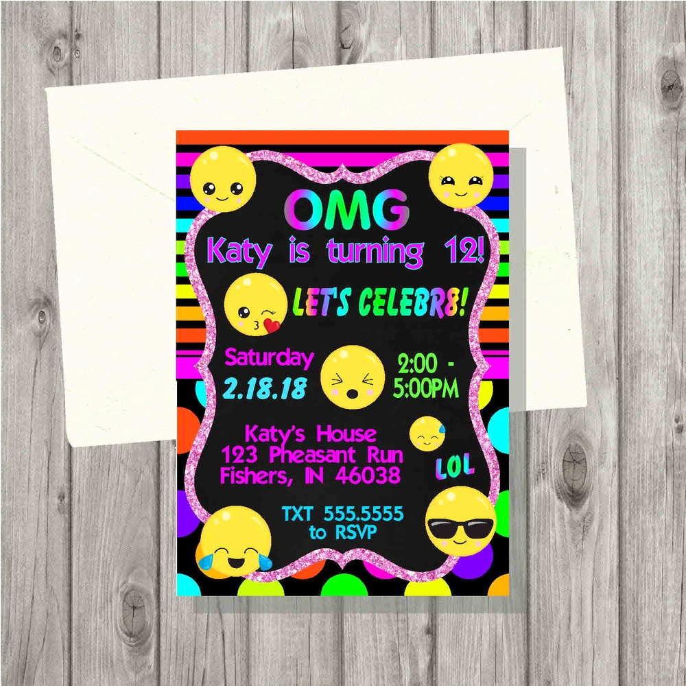 Tie Dye Party Invitations Printable Fresh Emoji Neon Tie Dye Birthday Party Invitation Digital File