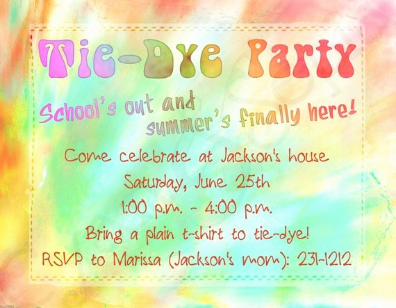 Tie Dye Party Invitations Printable Fresh Items Similar to Printable Birthday Invitation 4 25 X 5