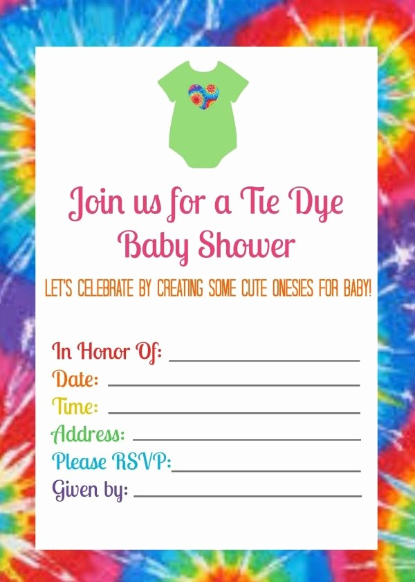 Tie Dye Party Invitations Printable Fresh Summer Baby Shower with Tie Dye Esies Juggling Act Mama