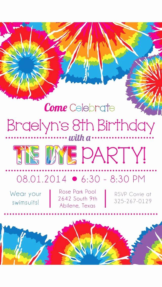 Tie Dye Party Invitations Printable Fresh Tie Dye Party Invitation Invites Galore