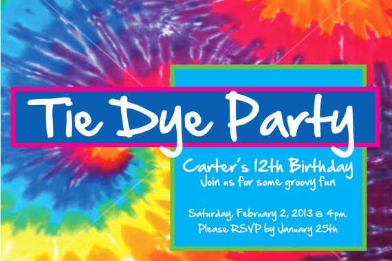 Tie Dye Party Invitations Printable Inspirational Custom Birthday Party Invitation Art Party Tie by