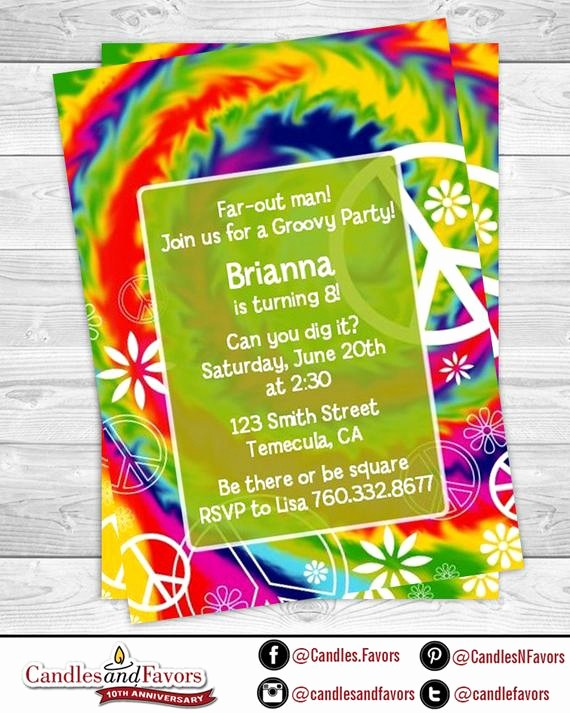 Tie Dye Party Invitations Printable Inspirational Peace Tie Dye Birthday Party Invitation Professionally