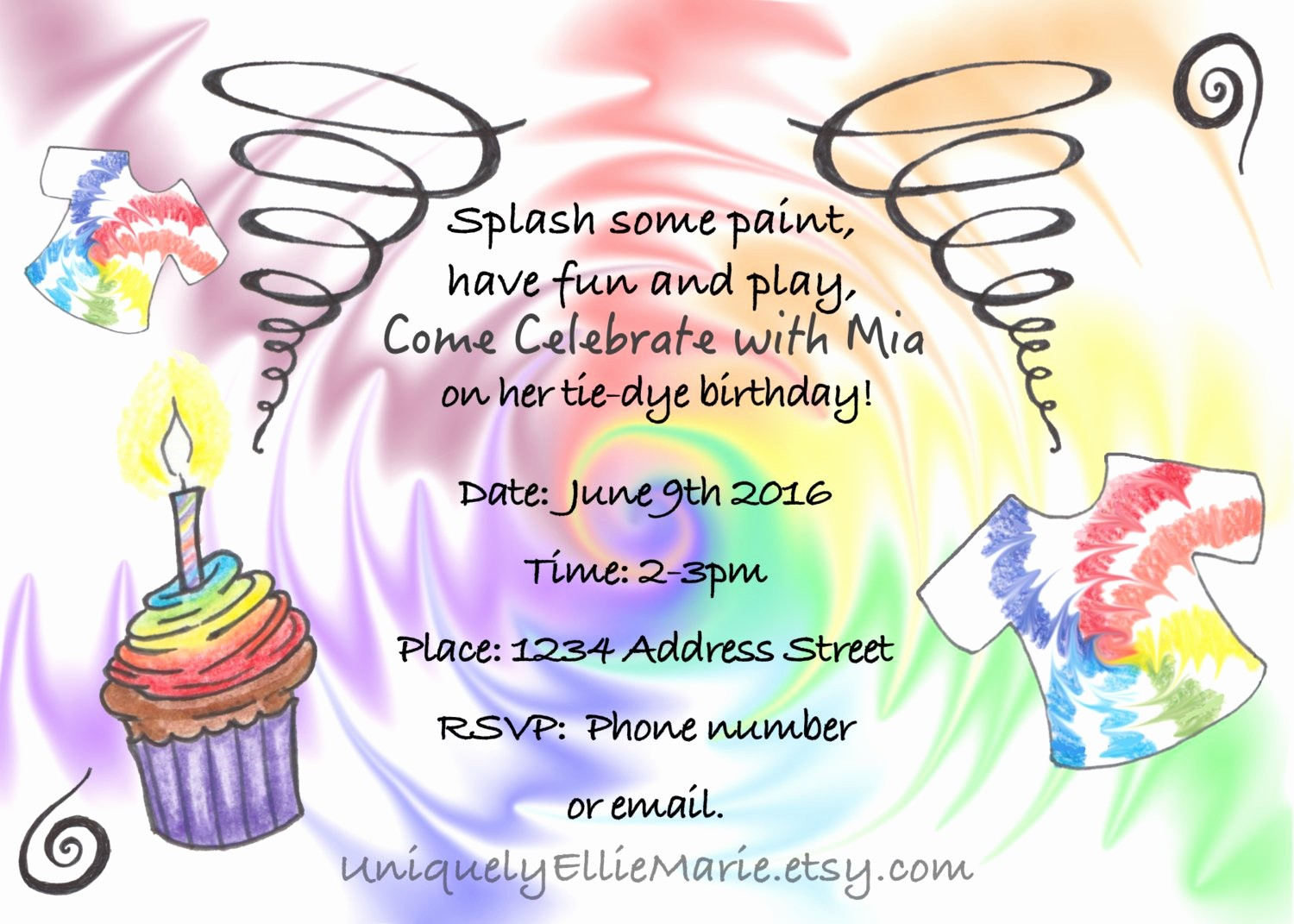 Tie Dye Party Invitations Printable Inspirational Tie Dye Birthday Invitation Printable Tie Dye Shirt Party