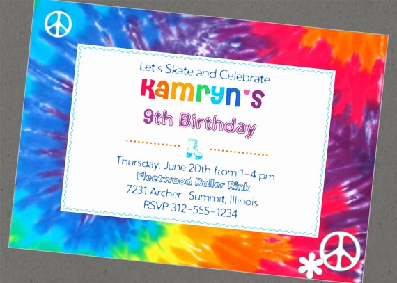 Tie Dye Party Invitations Printable Lovely Children's Party
