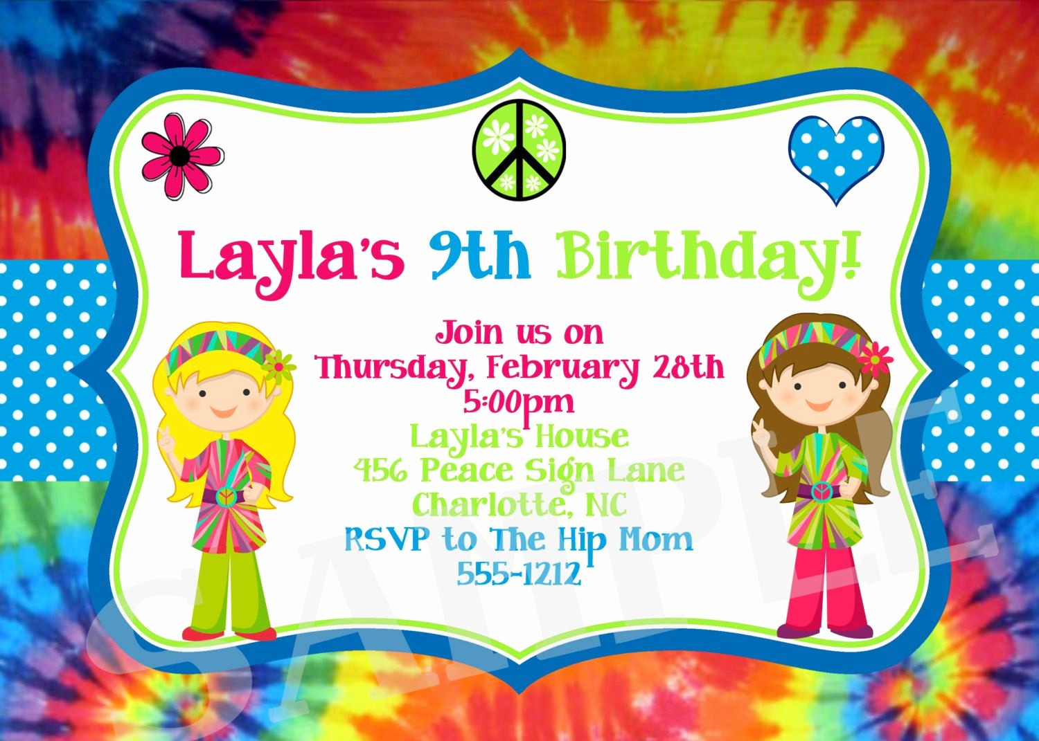 Tie Dye Party Invitations Printable Lovely Download now Free Template Tie Dye Birthday Party