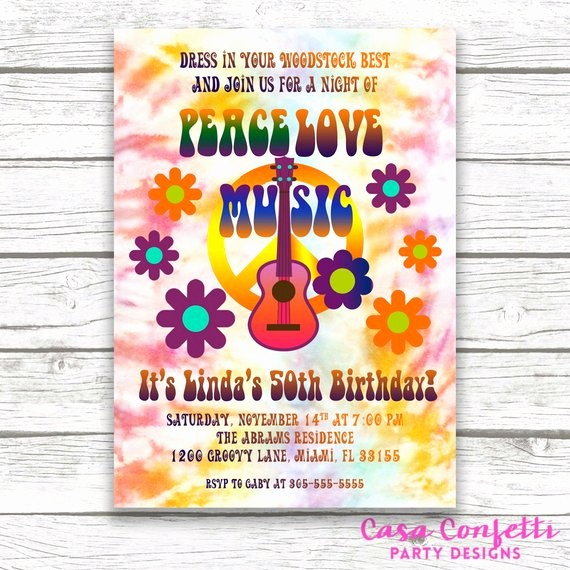 Tie Dye Party Invitations Printable Lovely Hippie Birthday Invitation Tie Dye Invitation 60s