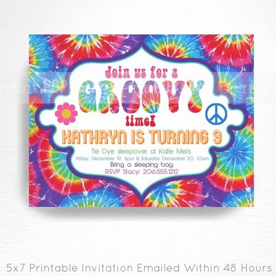 Tie Dye Party Invitations Printable Lovely Tie Dye Birthday Party Printable Invitation You Print