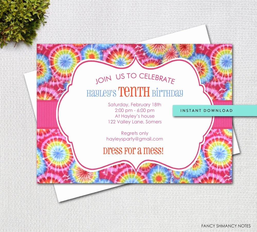 Tie Dye Party Invitations Printable Lovely Tie Dye Editable Invitation Template Instant Download