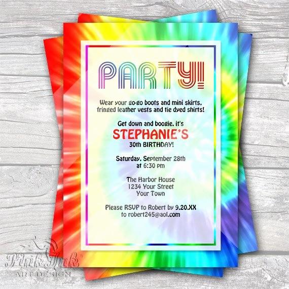 Tie Dye Party Invitations Printable Lovely Tie Dye Retro 1960 S Editable Pdf Party Invitation