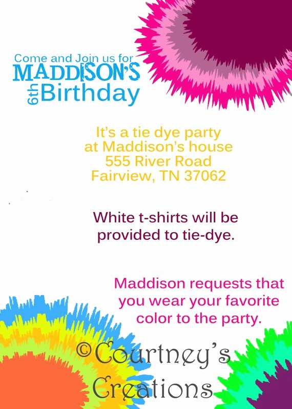 Tie Dye Party Invitations Printable Luxury 5x7 Tie Dye Birthday Invitation by Courtneyzcreations On Etsy