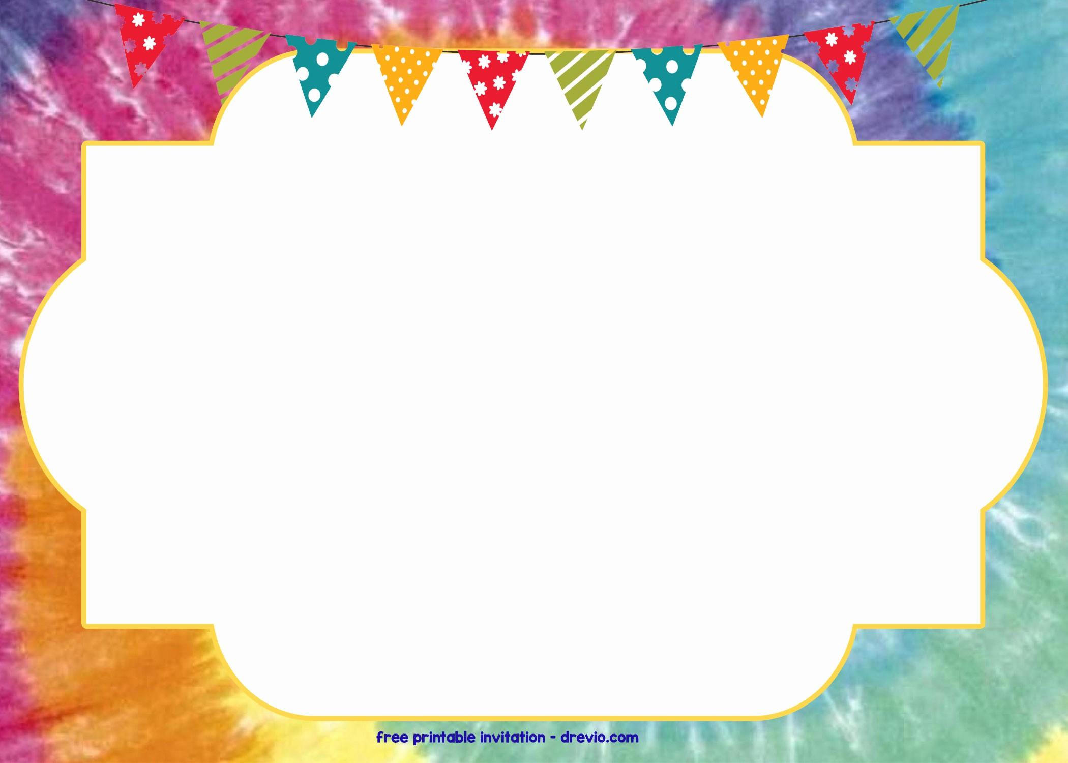 Tie Dye Party Invitations Printable Luxury Free Tie Dye Invitation Template