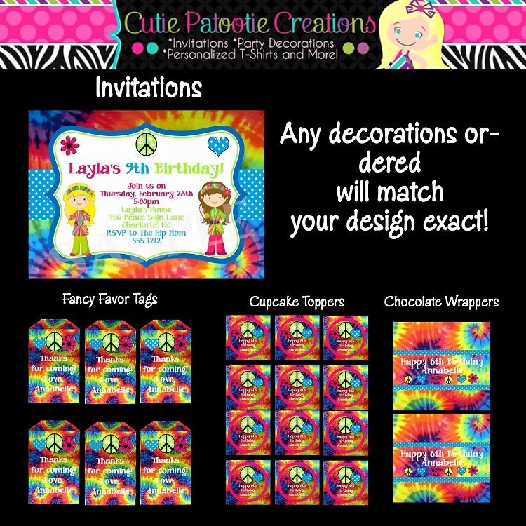 Tie Dye Party Invitations Printable Luxury Tie Dye Birthday Party Invitations Printable or Printed