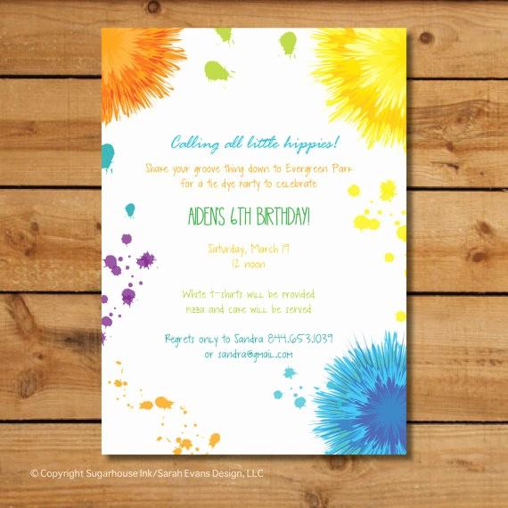 Tie Dye Party Invitations Printable New Hippie Birthday Party Invitations Tie Dye Colorful Splats
