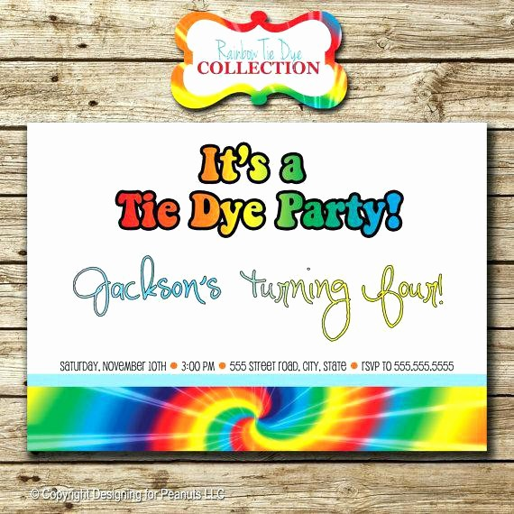 Tie Dye Party Invitations Printable Unique Printable Tie Dye Birthday Party Invitations Mitzvah