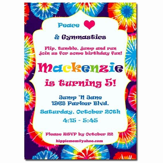 Tie Dye Party Invitations Printable Unique Tie Dye Birthday Invitations