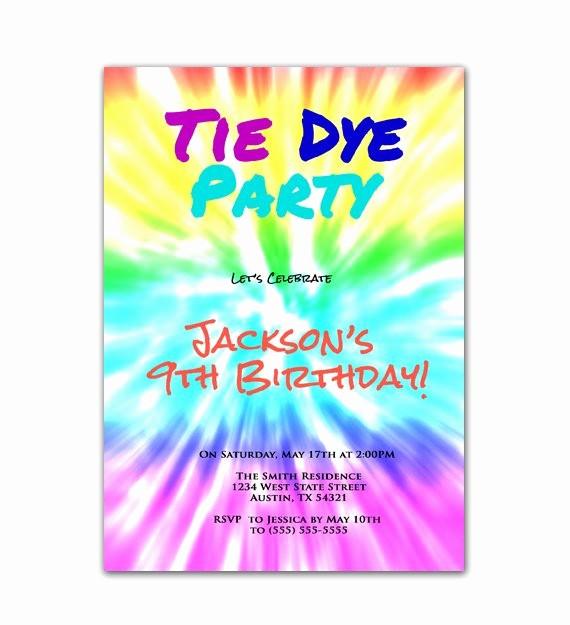 Tie Dye Party Invitations Printable Unique Tie Dye Party Art Birthday Party Invitation by Purplechicklet