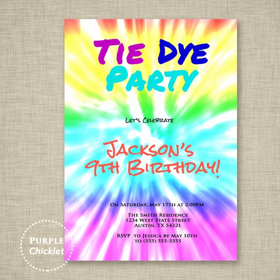 Tie Dye Party Invitations Printable Unique Tie Dye Party Art Birthday Party Invitation Groovy Kid