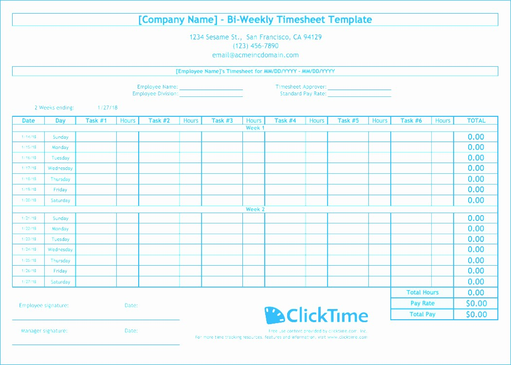 Time Card Calculator Bi Weekly Awesome Excel Biweekly Timecard Template 6 Biweekly Time Sheets