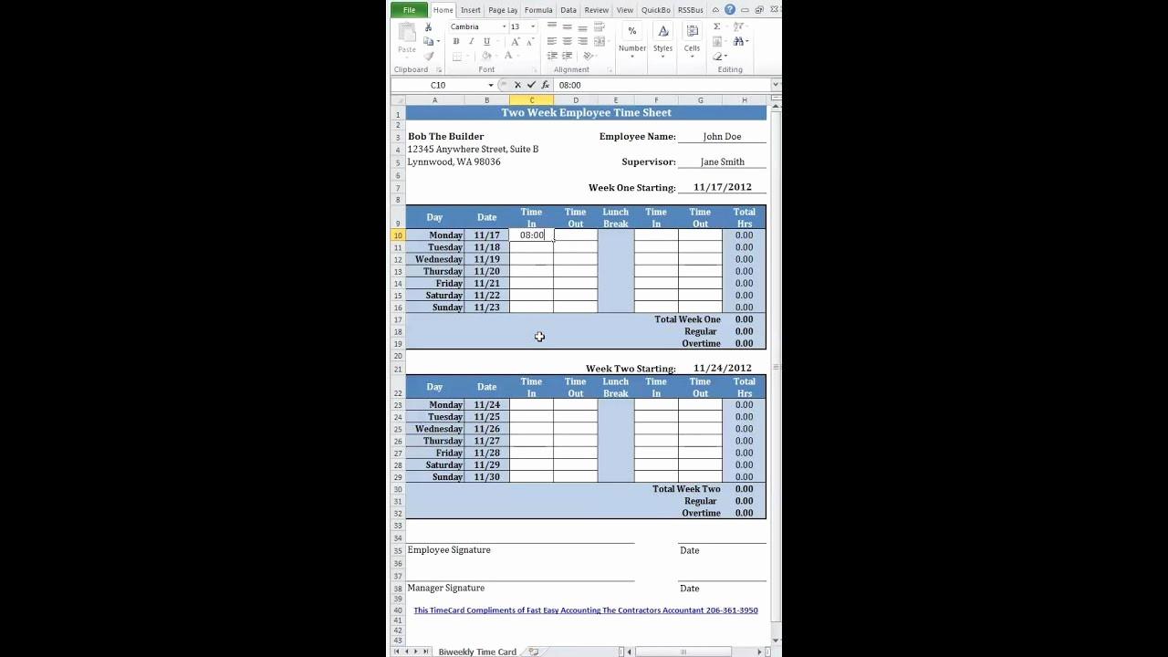 Time Card Calculator Bi Weekly Elegant Free Simple Bi Weekly Time Card Calculator for Contractors